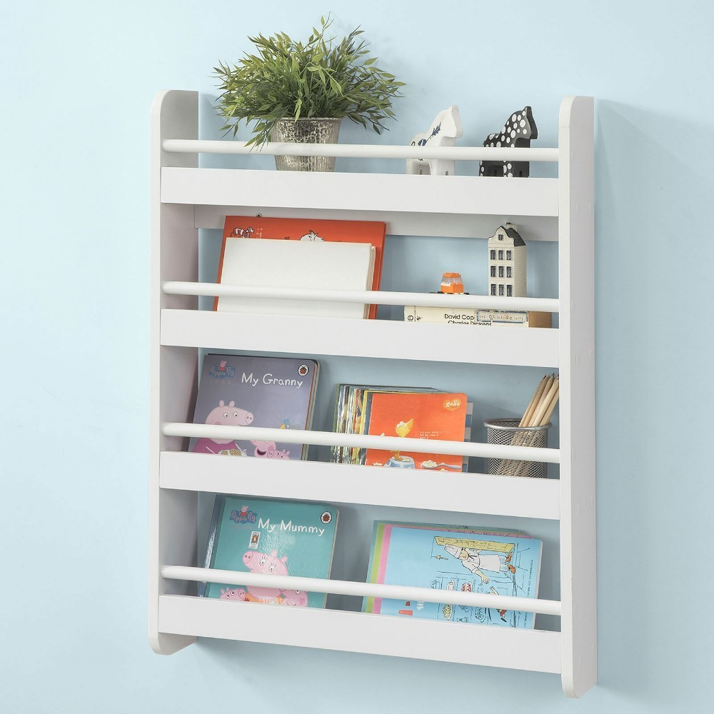 SoBuy KMB08-K-W, Wall Mounted 4 Tiers Children Kids Bookcase Book Shelf Storage Display Shelving Rack