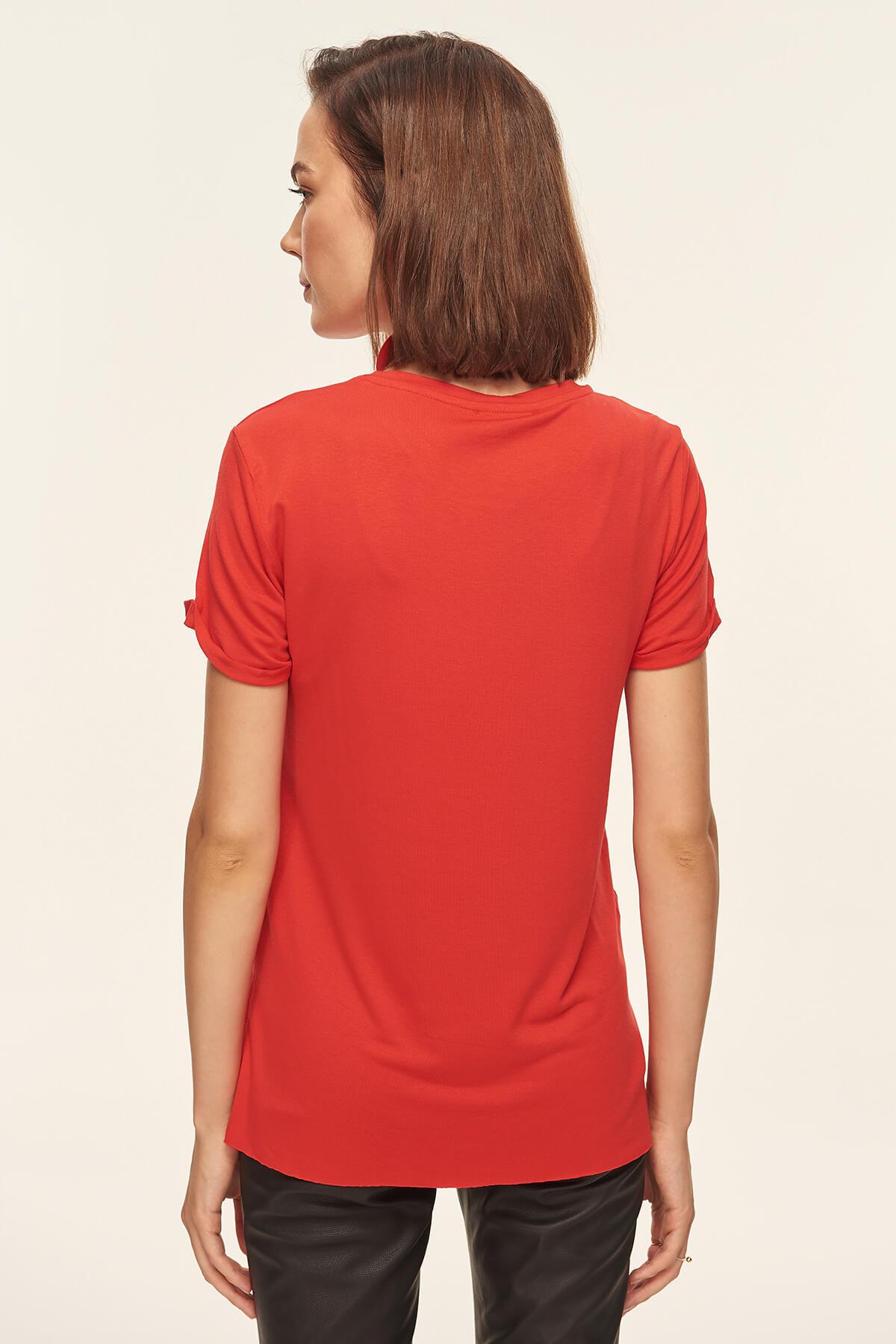 Volantes Rojo Tejer Tofss18od0010 Blusa Trendyol Avanzada Hqg7wwRI