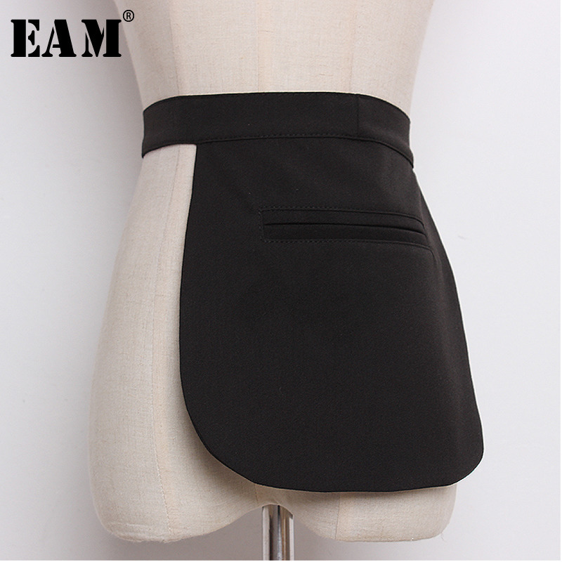 [EAM] 2019 Spring Summer Woman Stylish High Quality New Woman Black Color Pockets Concave Bandage Belt All Match LI490