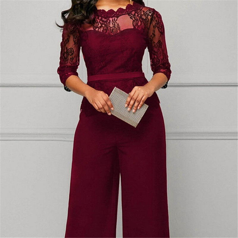 Elegant Sexy Jumpsuits Women Long Sleeve Lace Patchwork Jumpsuit Loose Trousers Wide Leg Pants Rompers Holiday Leotard Overalls