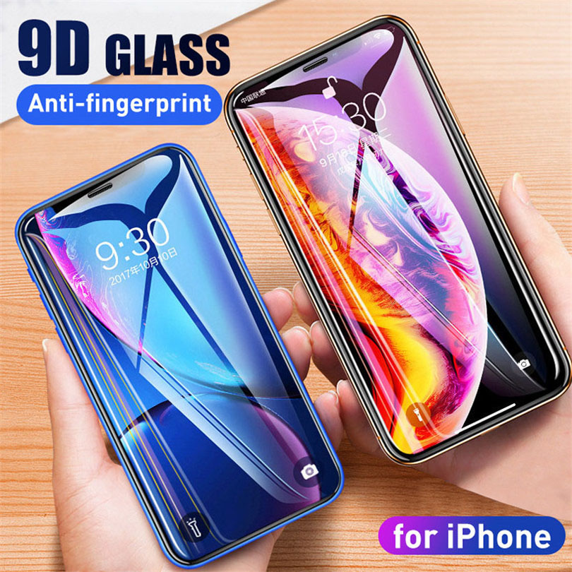9D Tempered Glass For iPhone 6 6S 7 Plus Aluminum Alloy Full Screen Protector Protective On For iPhone XS Max XR X 8 Plus Glass in Phone Screen Protectors from Cellphones Telecommunications