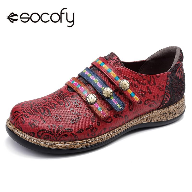 Ayakk.'ten Kadın Topuksuz Ayakkabı'de SOCOFY Bahar Rahat Retro Renkli Kanca Döngü Hakiki Deri Ekleme Dantel Dikiş düz ayakkabı Kayma Rahat Yumuşak Sole Flats'da  Grup 1