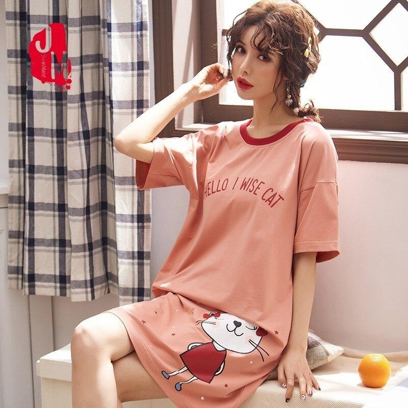 2019 Cotton   Nightgown   Women Sweet Girl Lounge Cute Nightdress Sleepwear Summer Home Dress Casual Nightwear   Sleepshirts   Shirt