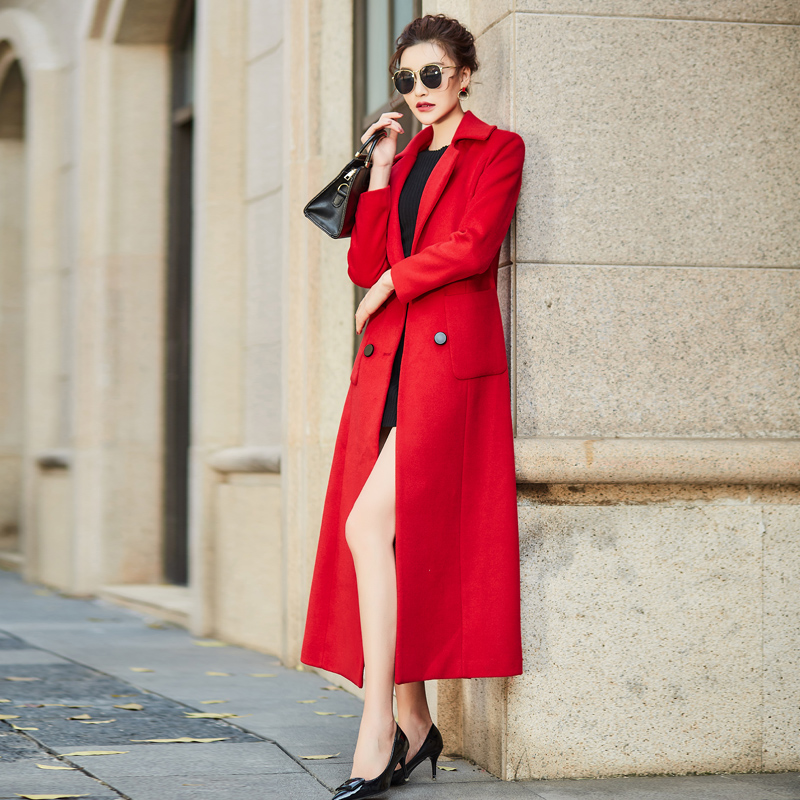 Fashion Elegant Autumn Winter Long Overcoat Wool Blend Coat Women 2 Pockets V-Neck Double Breasted Red Coats Female Outerwear