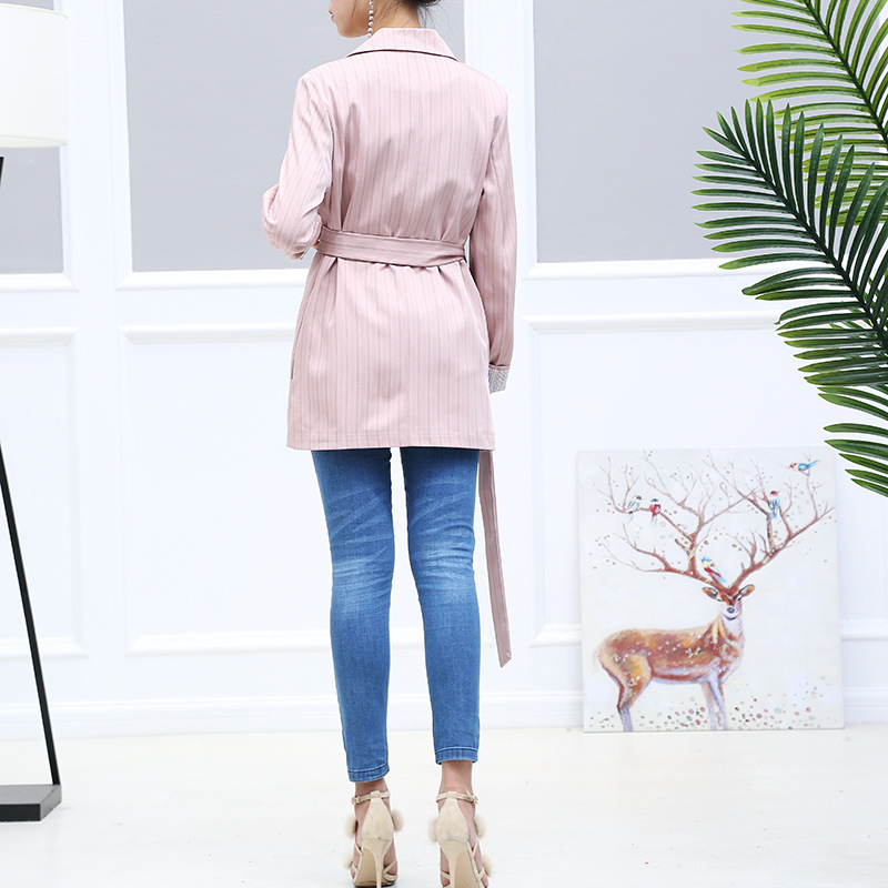 Full Cardigans Casual Notched Femme Women Blazers Slim Sleeve Pink Blazer Fashion Striped Jacket Suit Long fIaaqzAnR