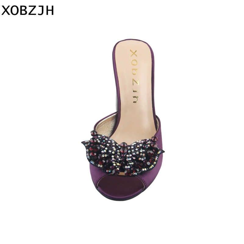 2019 קיץ סנדלי נשים נעליים גבוהה עקבים לחתונה גבירותיי המפלגה סגול גבוהה פרפר בוהן פתוח נעלי משי נעלי אישה