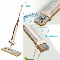 Floor Cleaning Tool For Living Room Kitchen Self Wringing Double Sided Flat Mop Non Hand Telescopic Comfortable Handle Mop|Mops| |  -