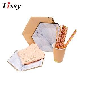 Image 3 - Os utensílios de mesa descartáveis ouro rosa imitação placa de mármore dourado palhas de papel/decoração cuptable casamento/aniversário/festa suprimentos