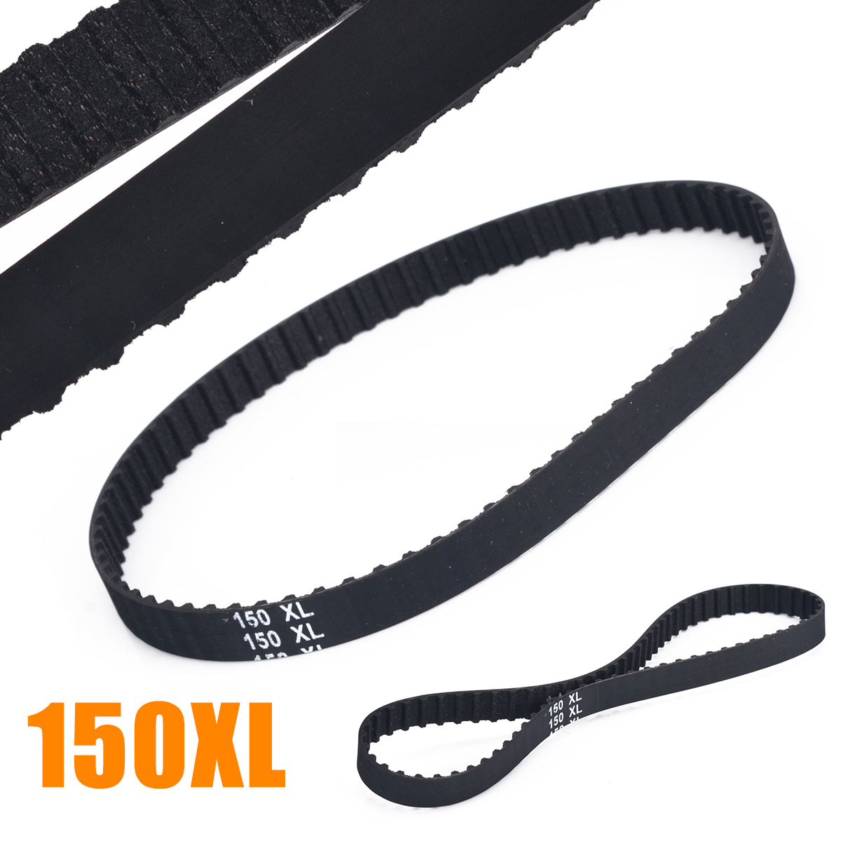 1 Piece Timing Belt XL 10mm Aging-Resistant  150XL037 Black Timing Belts 75 Teeth Cogged Rubber Geared Drive Belt1 Piece Timing Belt XL 10mm Aging-Resistant  150XL037 Black Timing Belts 75 Teeth Cogged Rubber Geared Drive Belt
