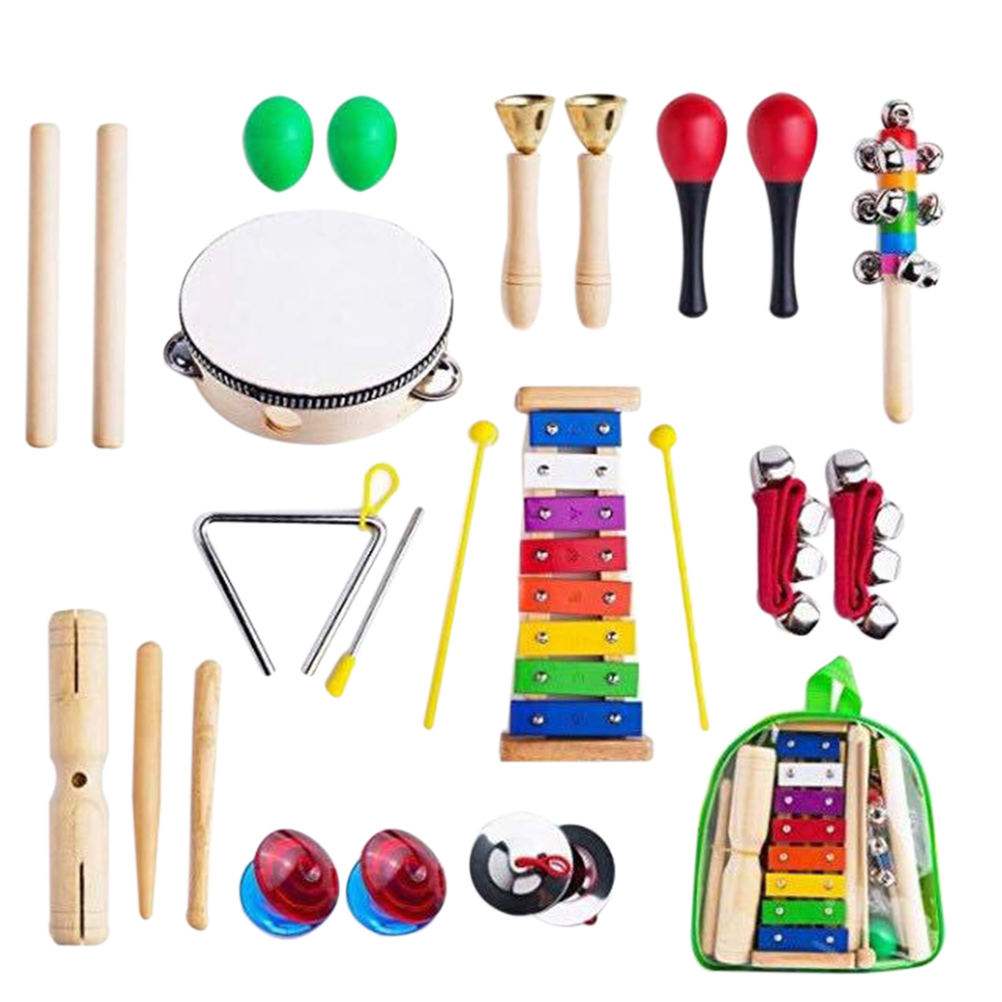 24Pcs Crianças Cedo Educacional Instrumento Musical Brinquedos Carl para Kits de Instrumentos Musicais Conjunto para Crianças Aprendizagem de Música