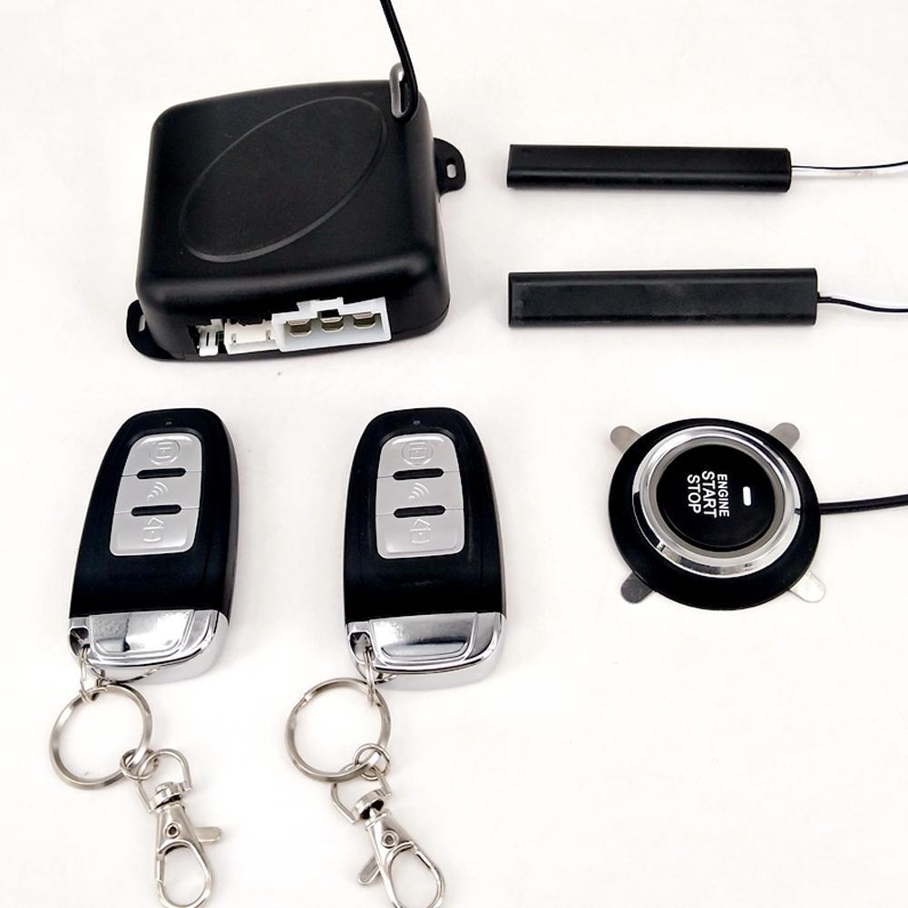 9 pièces/ensemble voiture sans clé entrée moteur démarrage système d'alarme bouton poussoir démarreur à distance Central Kit Auto porte serrure verrouillage alarme antivol - 2
