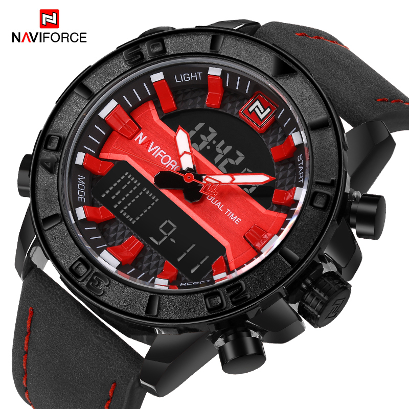 купить NAVIFORCE Luxury Brand Men Analog Digital Leather Sports Watches Men's Army Military Quartz Wrist Watch Clock Relogio Masculino по цене 1563.26 рублей