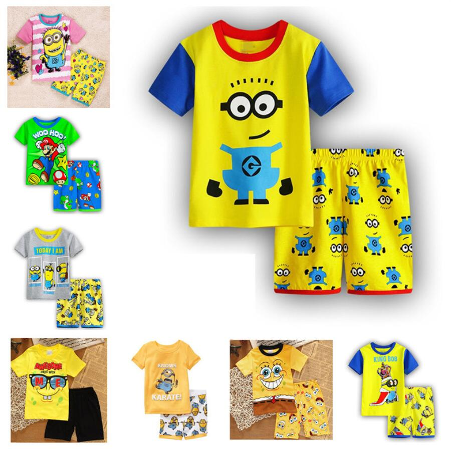 2 Pcs Cartoon Despicable Me Sommer Pyjamas Kurzarm Set Kinder Nachtwäsche T-shirt + Hosen Qw30 StraßEnpreis