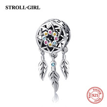 Hot sale 925 sterling silver charm Dream catcher colorful CZ bead fit authentic Pandora bracelet DIY jewelry Making for Gifts wostu high quality 925 sterling silver dream catcher colorful cz charm bracelet bangle for women luxury s925 jewelry gift fib809