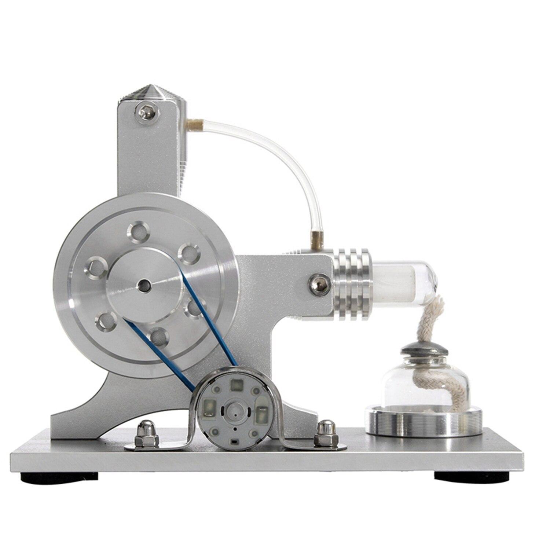 Mini Hot Air Stirling Motor Power Electricity Generator Led Alpha Engine Model Educational Physics Experiment Kit