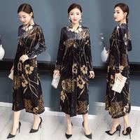 2019 Women Autumn New Print Dresses Elegant V collar Party Vintage Fashion Maxi Dress Long Sleeve Loose Silk Dress Big Size