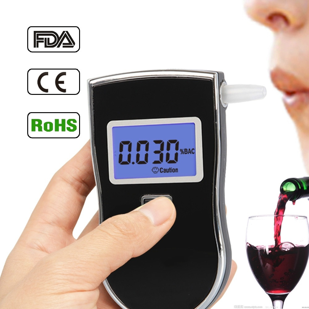 NEW AT-818 Alcohol Tester Professional Breath Police Breathalyzer LED Digital Alcohol Testers Breathalyzer AT818 Free shipping