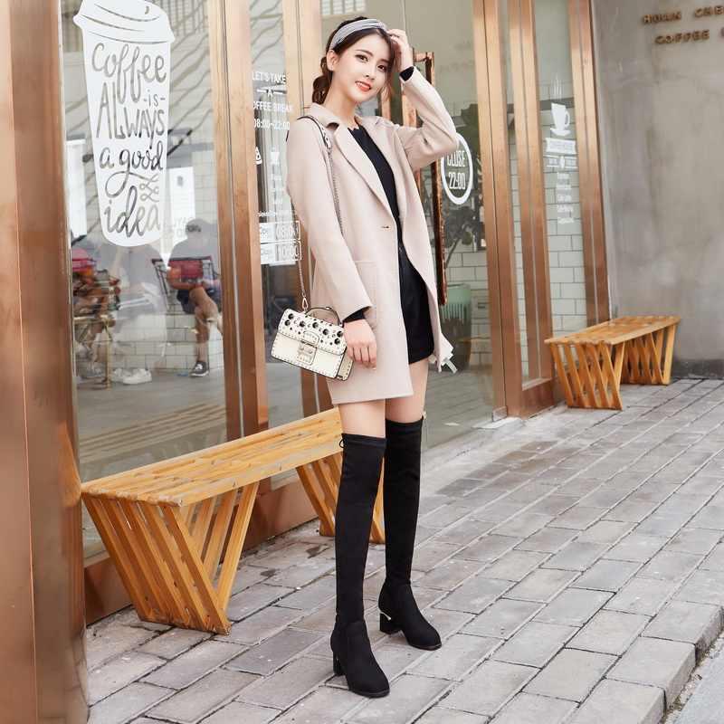 Phụ Nữ Trên Đầu Gối Giày Phối Ren Gợi Cảm Giày Cao Gót Giày Bốt Nữ Thu Đông 2019 Người Phụ Nữ Giày Mùa Đông Đùi Cao Cấp Giày da Lộn Cao Cấp