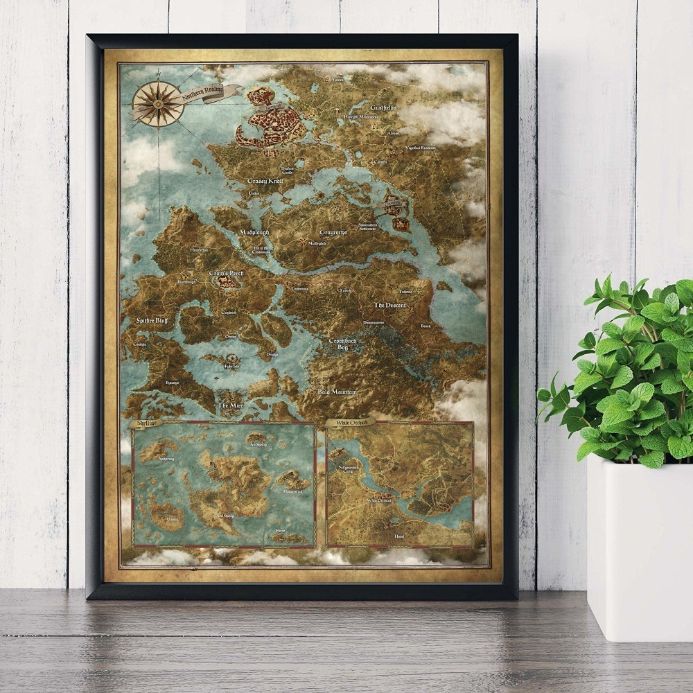 Witcher 3 World Map Canvas Printed Painting Posters Prints Living Room Wall  Art Picture Home No Frame
