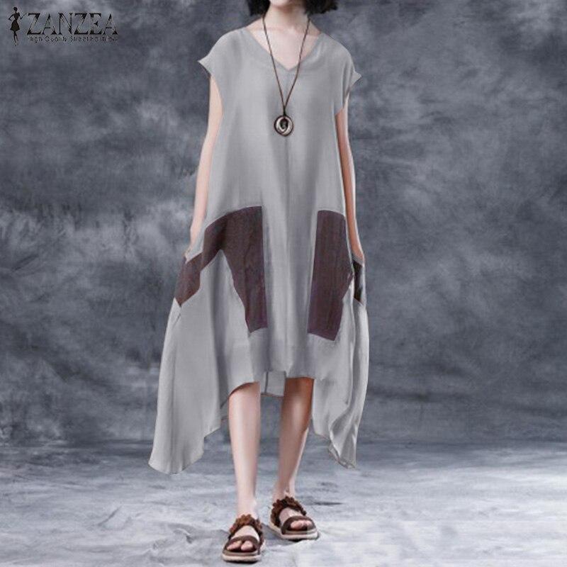 2019 ZANZEA Women Sundress Summer Sleeveles V Neck Patchwork Long Vestido Female Irregular Hem Dress Loose Casual Beach Sarafans