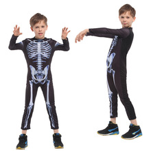 zlkoe Halloween Children Show Serve Cosplay Masquerade Clothing Male Human Skeleton