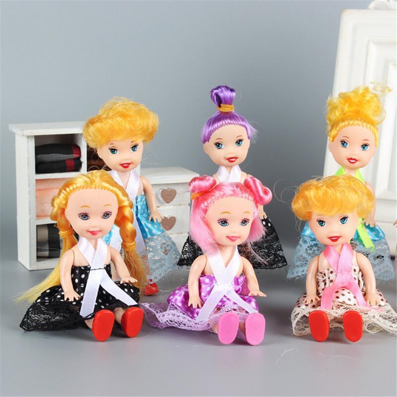 5 шт. 11 см кукла девочка игрушка Случайная Доставка маленькая кукла с платьем и обувью милые американские куклы игрушки для детей девочка