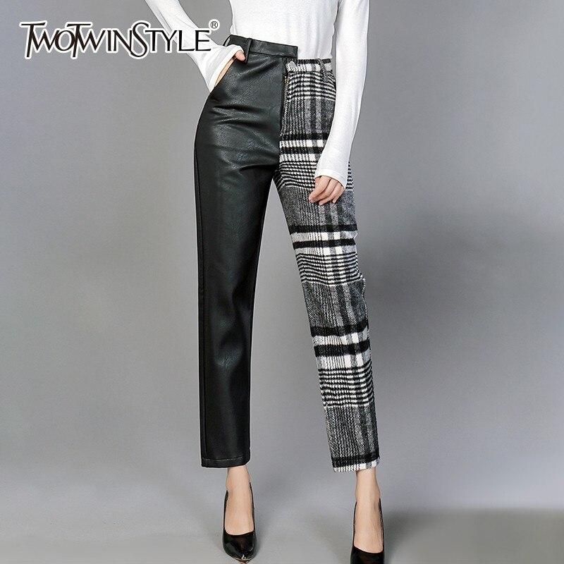 Deuxtwinstyle PU pantalon pour femmes taille haute Hit couleurs asymétrique Patchwork cheville longueur laine pantalon femme 2019 printemps nouveau