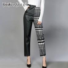 TWOTWINSTYLE PUกางเกงผู้หญิงสูงเอวHitสีไม่สมมาตรPatchworkความยาวข้อเท้ากางเกงขายาวหญิง2020ฤดูใบไม้ผลิใหม่