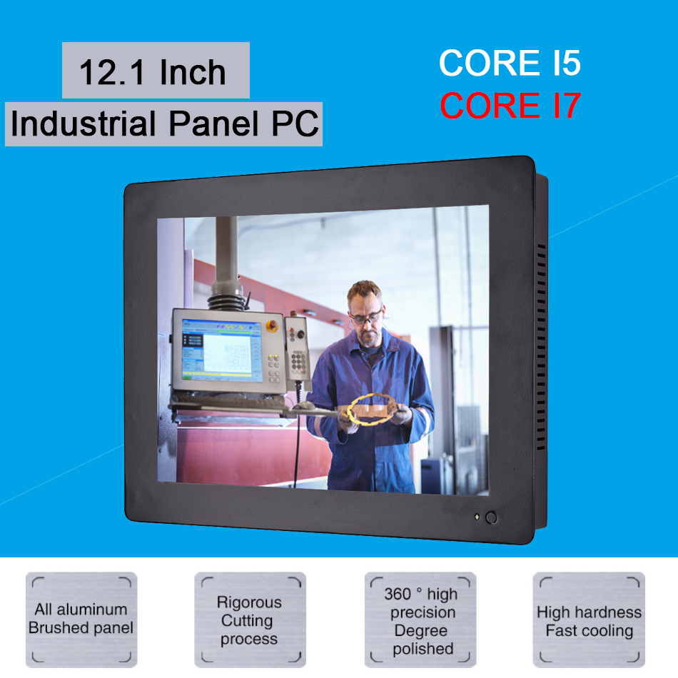 12.1 Inch Industrial Touch Panel PC,4 Wires Resistive Touch Screen,Intel Core I7 3537U,Wins 7/10,Linux,[HUNSN DA12W]