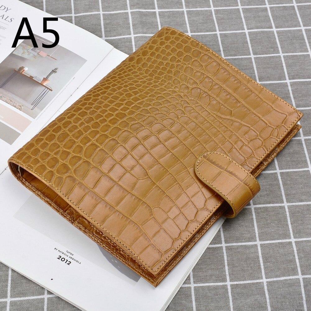 100% anneaux de reliure en cuir véritable carnet A5 taille Agenda organisateur Journal de vachette carnet de croquis avec poche d'argent