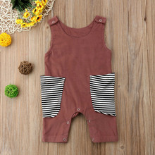 Girl Boy Baby Clothes Sleeveless Big Stripe Pocket Baby Rompers Jumpsuit Outfit Clothes Summer Casual New Born Baby Clothes(China)
