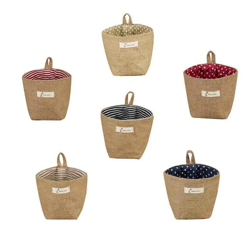 คุณภาพสูงผ้าลินินเดสก์ท็อปตะกร้าเก็บกล่องเก็บเครื่องสำอางค์ดอกไม้ Potted พืชเครื่องมือของเล่น