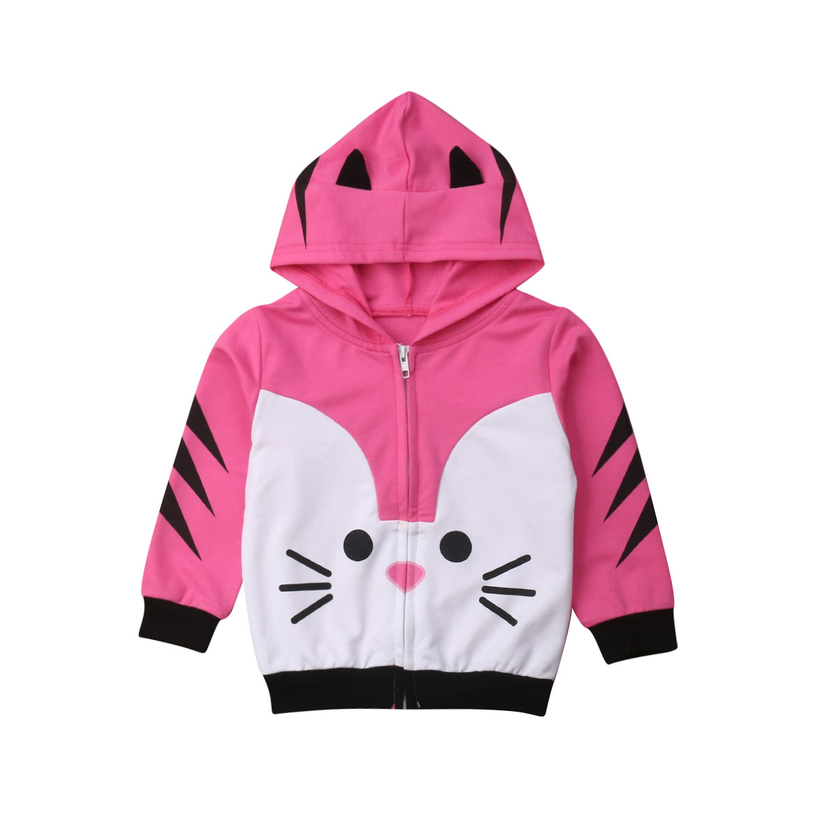 2019 New Brand Springs Hot Toddler Baby Kids Girls Cat  Cute Zippers Hoodies Sweatshirt Tops Coats Outerwear Clothes