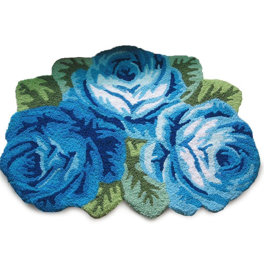 WINLIFE Romantic 3 Roses Rugs Antiskid Door Mat Flower Shaped Area Rugs Bedroom Floor Mat Pink Rose Living Room Rugs