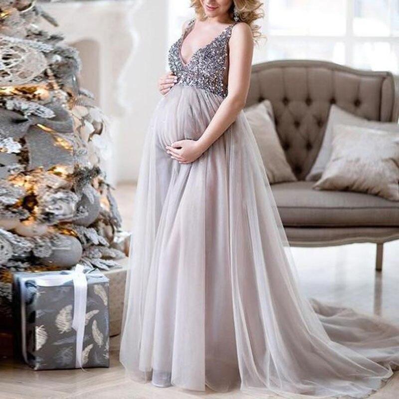 Новое шикарное элегантное роскошное блестящее платье для беременных женщин с v-образным вырезом для вечеринки без рукавов сексуальное шифо...