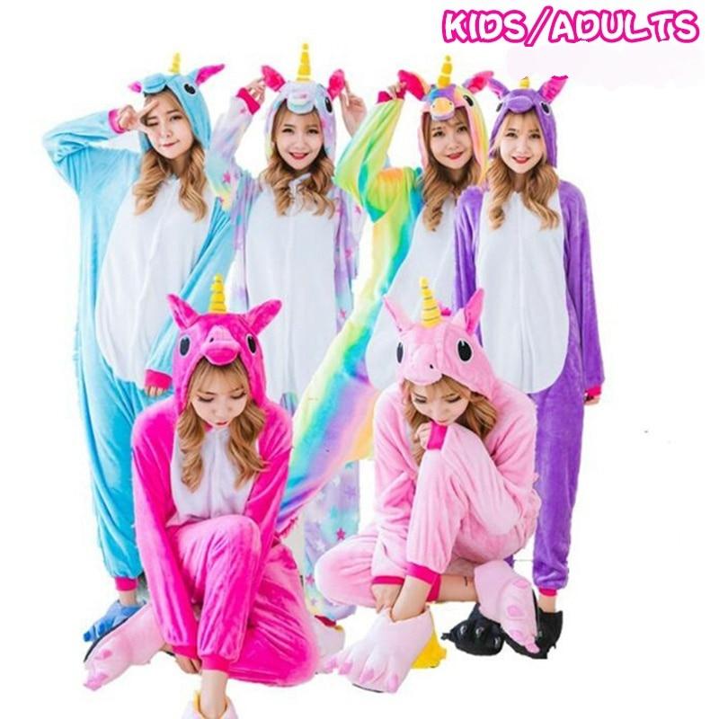 Unicorn Flannel   Pajamas     Sets   Animal Parent-child Winter Cosplay Women Men Sleepwear Unisex children Kigurumi Unicornio Home 7479