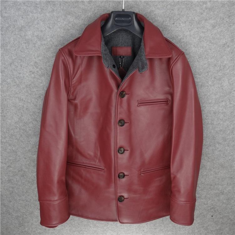 Jacketwarm Red Red Cuir En Jacketclassic Brown Horseskin purple Style Serre Laine Ventes Long Hiver Jacketsvintage frein Manteau light Véritable fnqpUPWx6