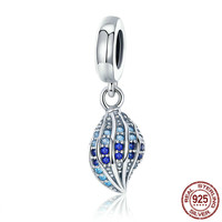 100% 925 Sterling Silver Song of Conch Blue CZ Crystal Charm Pendant fit Women Charm Bracelet DIY Jewelry Making SCC707 BAMOER