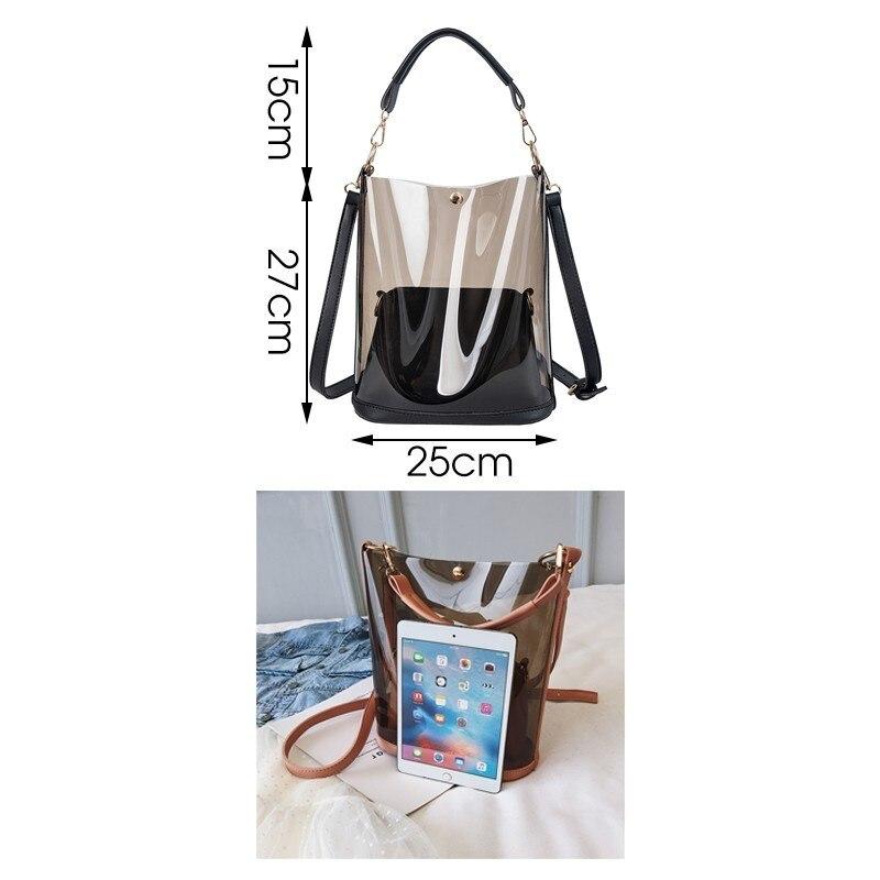 Image 2 - Herald Fashion 2pcs Women Clear Transparent Shoulder Bag Jelly Candy Summer Beach Handbag Woman Messenger Bags Bolsa FemininaTop-Handle Bags   -