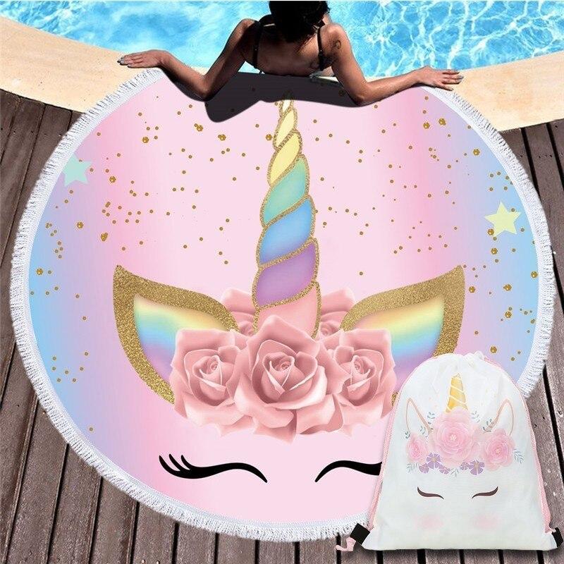 Cartoon Einhorn Serie Mikrofaser Strand Handtuch mit Kordelzug Rucksack Tasche Sport Yoga Decke Schwimmen Bad Handtuch