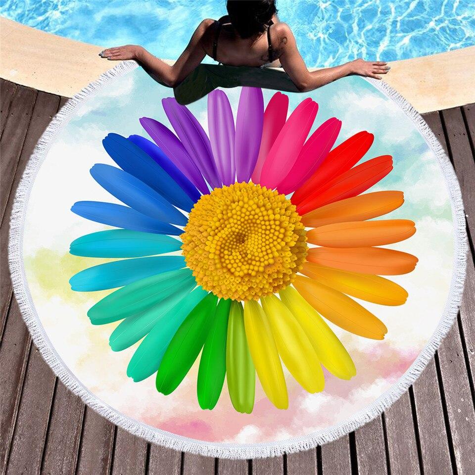 3d Fiore Rotondo Di Grandi Dimensioni Telo Mare Per La Donna Arcobaleno Di Colori Floreale Coperta In Microfibra Yoga Zerbino 150 Centimetri Nappa Toalla