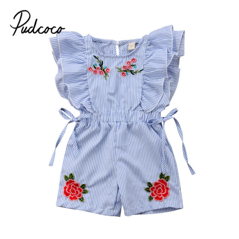 Newborn Baby Girls Sunsuit Rose Flower   Romper   Jumpsuit Kids Baby Summer Outfits Clothes Bowknot   Rompers   Playsuit Overalls 6M-5T