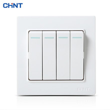 CHNT Wall Switches NEW7L Safety Steel Frame White Panel Household Switch Four Gang 1 Way Light