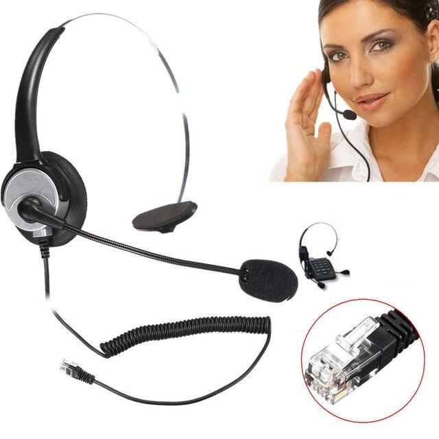 RJ11 コールセンターコード付きオペレータ電話用マイク付オフィスビジネスコール