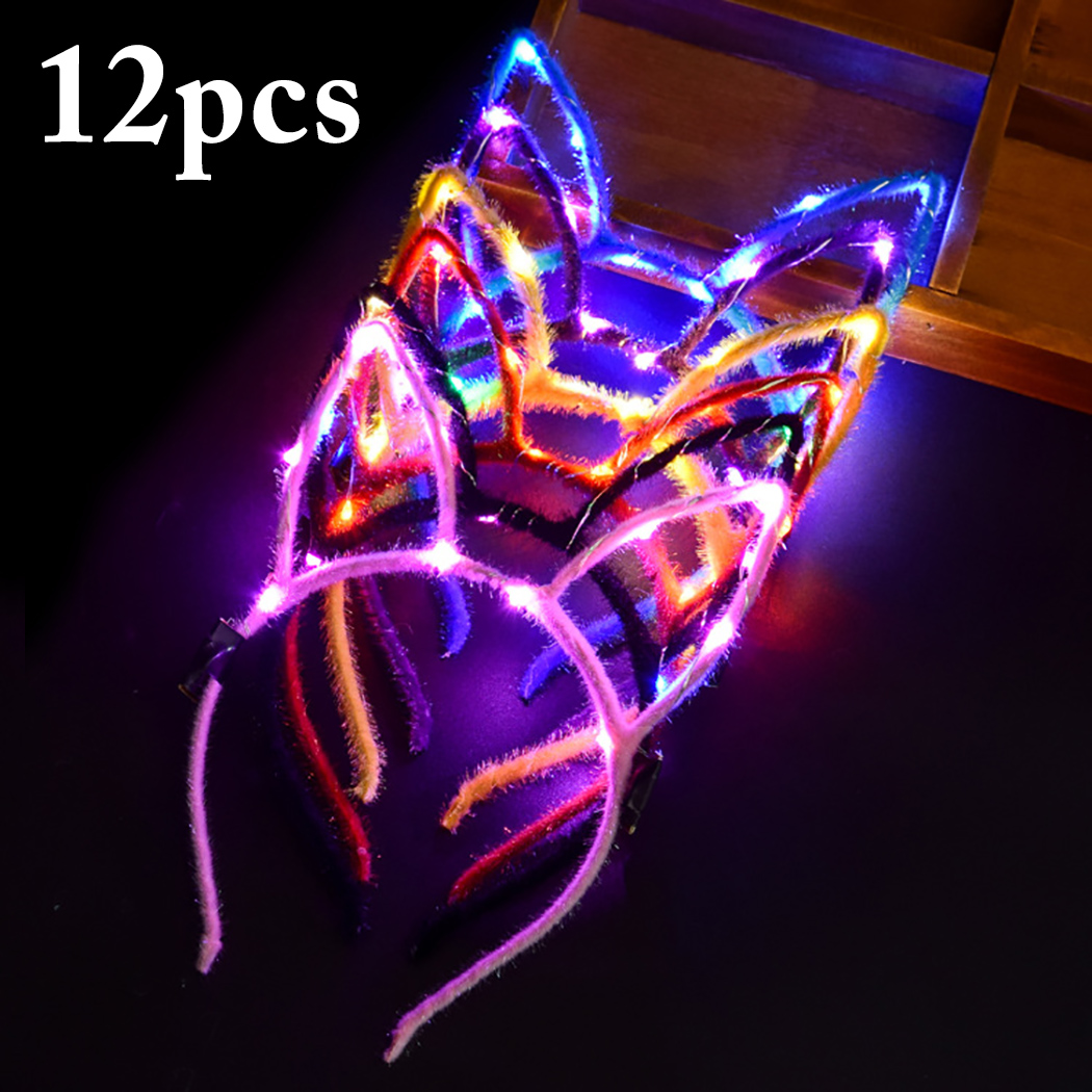 12PCS Lovely Flash Rabbit Ears Hair Hoop Light Up LED Headbands Party Props For Masquerade And Christmas12PCS Lovely Flash Rabbit Ears Hair Hoop Light Up LED Headbands Party Props For Masquerade And Christmas