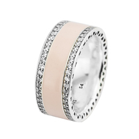 Ring Hearts,Soft Pink Silver Rings With CLEAR CZ For Women Men Anel Feminino 100% 925 Jewelry Sterling Silver Anillos Wedding
