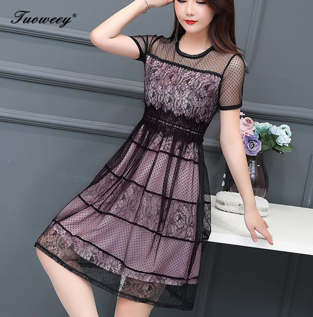 2019 Plus size 4XL New Women lace patchwork short Sleeve A line knee length Dress summer O neck Female Casual hollow out Dresses in Dresses from Women 39 s Clothing