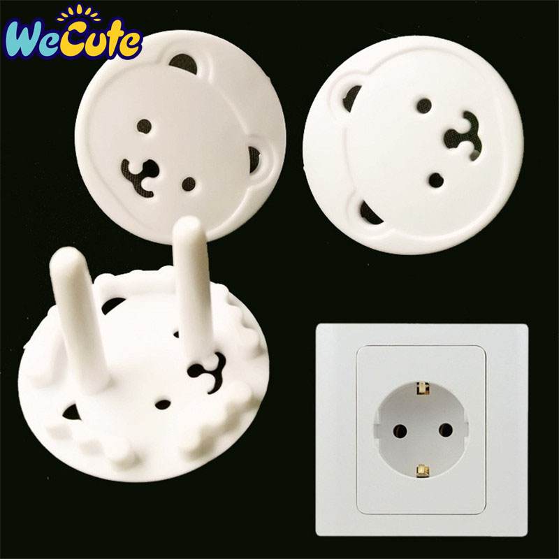 Wecute 4PCS Baby Electrical Safety EU Power Socket Protective Cover Cap Cartoon Bear Two Phase Baby Care Security Product