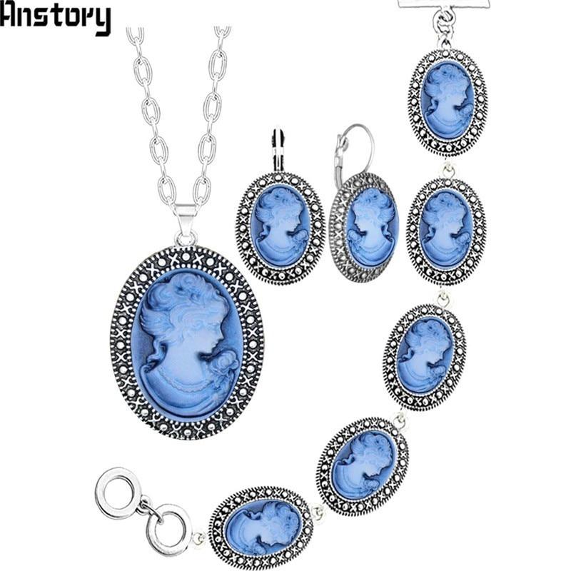 GroßZüGig Oval Dame Königin Cameo Schmuck Set Antike Silber Überzogene Halskette Ohrringe Armband Modeschmuck Ts419 Schmucksets & Mehr Schmuck Sets