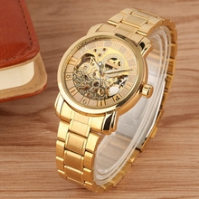 WINNER Watch Men Skeleton Automatic Mechanical Watch Full Gold Stainless Steel Clocks Watch Top Brand Luxury Wrist Watch for Man winner men luxury brand roman number skeleton stainless steel watch automatic mechanical wristwatches gift box relogio releges